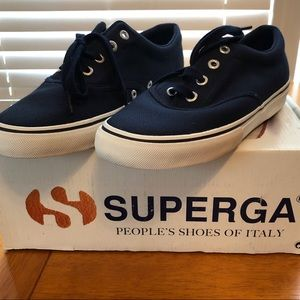 NWT Superga navy canvas casual shoe, ladies 9